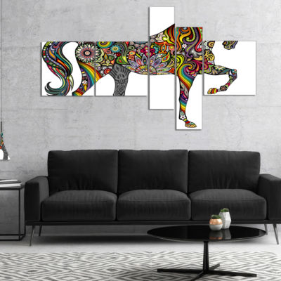 Designart Rainbow Patterned Horse Multipanel Animal Canvas Art Print - 4 Panels