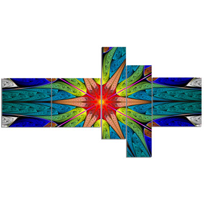 Designart Budding Fractal Colorful Flower Multipanel Abstract Canvas Art Print - 5 Panels