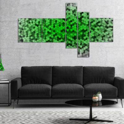 Designart Random Elevated Green Hexagons Multipanel Abstract Wall Art Canvas - 4 Panels