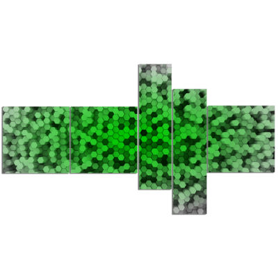Designart Random Elevated Green Hexagons Multipanel Abstract Wall Art Canvas - 5 Panels