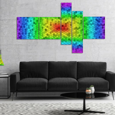 Designart Random Elevated Hexagon Columns Multipanel Abstract Art On Canvas - 5 Panels