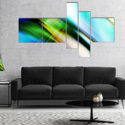 Designart Rays Of Speed Blue Green Multipanel Abstract Canvas Art Print - 4 Panels