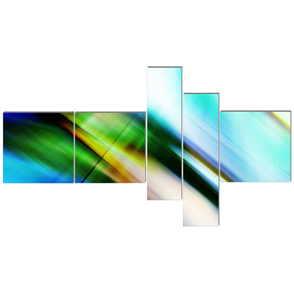 Designart Rays Of Speed Blue Green Multipanel Abstract Canvas Art Print - 5 Panels