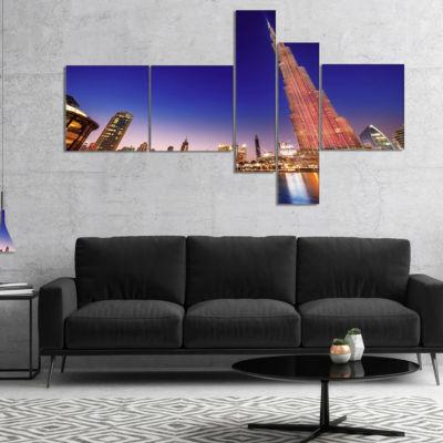 Design Art Burj Khalifa Night Landscape MultipanelCityscape Canvas Art Print - 4 Panels
