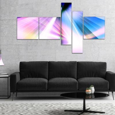 Designart Rays Of Speed Blue Multipanel Abstract CanvaS Art Print - 5 Panels