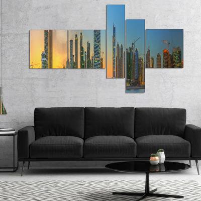 Designart Business Bay And Downtown Dubai Multipanel Cityscape Canvas Art Print - 5 Panels
