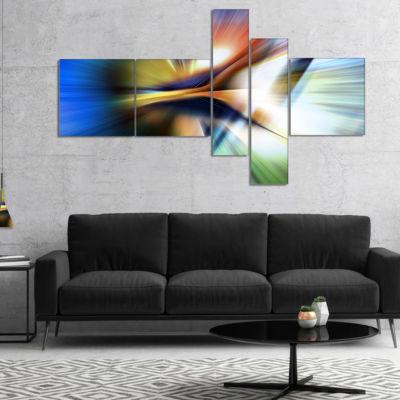Designart Rays Of Speed Center Multipanel AbstractCanvaS Art Print - 5 Panels