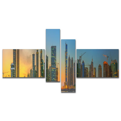 Designart Business Bay And Downtown Dubai Multipanel Cityscape Canvas Print - 4 Panels