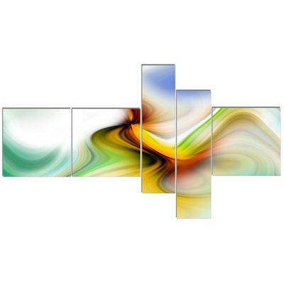 Designart Rays Of Speed Curved Multipanel AbstractCanvaS Art Print - 5 Panels
