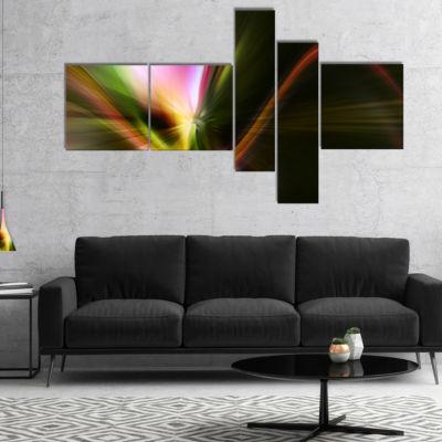Designart Rays Of Speed Green Multipanel AbstractCanvaS Art Print - 4 Panels