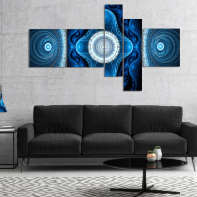 Designart Cabalistic Blue Fractal Design Multipanel Abstract Canvas Art Print - 4 Panels