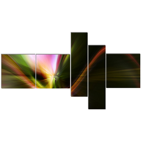 Designart Rays Of Speed Green Multipanel AbstractCanvaS Art Print - 5 Panels