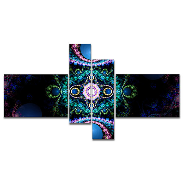Designart Cabalistic Blue Fractal Pattern Multipanel Abstract Canvas Art Print - 4 Panels