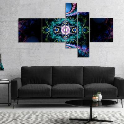 Designart Cabalistic Blue Fractal Pattern Multipanel Abstract Canvas Art Print - 5 Panels