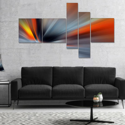 Designart Rays Of Speed Large Lines Multipanel Abstract Canvas Art Print - 5 Panels