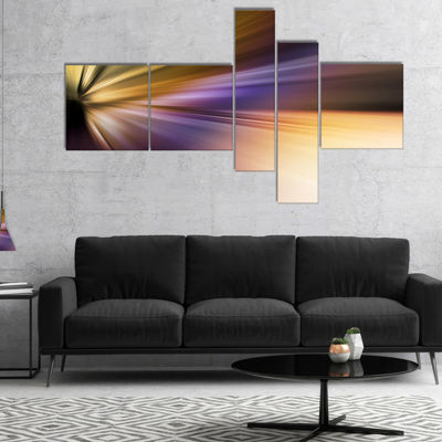 Designart Rays Of Speed Purple Brown Multipanel Large Abstract Art - 4 Panels