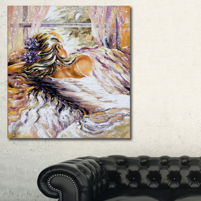 Designart The River Over The Girl Abstract CanvasArt Print - 3 Panels