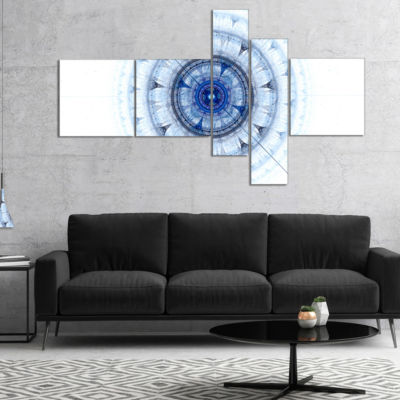 Designart Cabalistic Blue Fractal Sphere Multipanel Abstract Canvas Art Print - 5 Panels