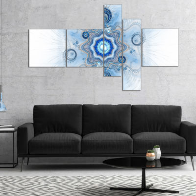 Designart Cabalistic Blue Star Flower Multipanel Abstract Canvas Art Print - 5 Panels