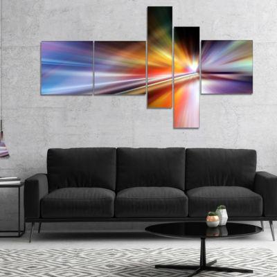 Designart Rays Of Speed Purple Multipanel AbstractCanvaS Art Print - 5 Panels