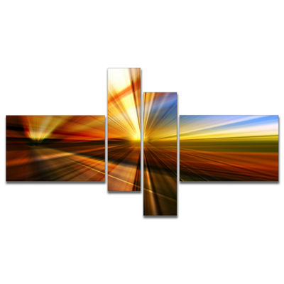 Designart Rays Of Speed Reflection Multipanel Abstract Canvas Art Print - 4 Panels