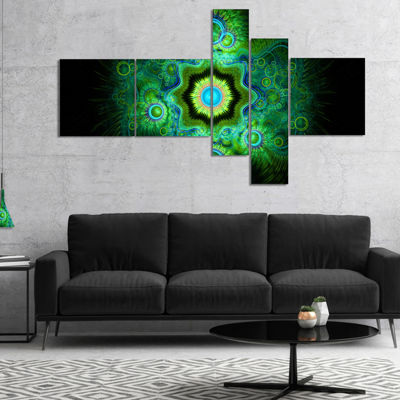 Designart Cabalistic Bright Green Texture Multipanel Abstract Canvas Art Print - 5 Panels