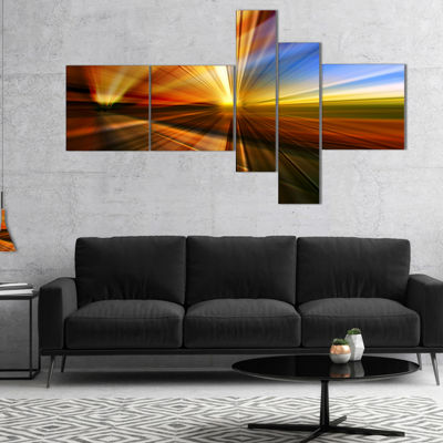 Designart Rays Of Speed Reflection Multipanel Abstract Canvas Art Print - 5 Panels
