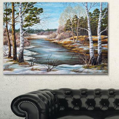 Designart The Spring Siberian River Landscape ArtPrint Canvas - 3 Panels