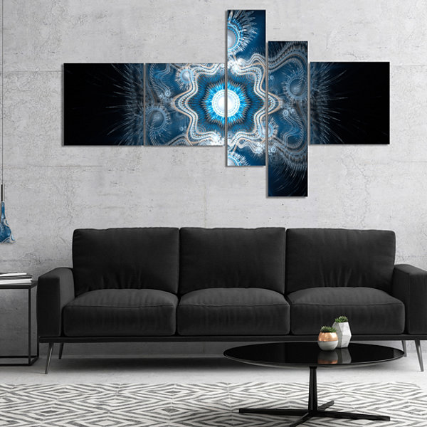 Designart Cabalistic Clear Blue Texture MultipanelAbstract Canvas Art Print - 4 Panels