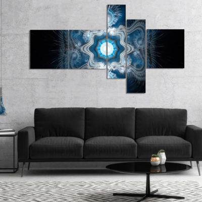 Designart Cabalistic Clear Blue Texture MultipanelAbstract Canvas Art Print - 5 Panels