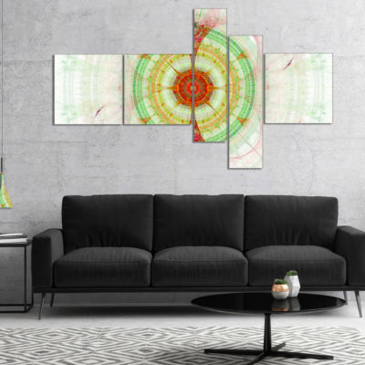 Designart Cabalistic Fractal Green Sphere Multipanel Abstract Wall Art Canvas - 5 Panels