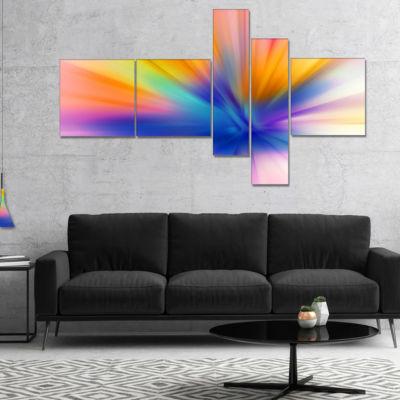 Designart Rays Of Speed Yellow Multipanel AbstractCanvaS Art Print - 5 Panels