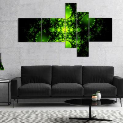 Designart Cabalistic Green Fractal Design Multipanel Abstract Canvas Art Print - 5 Panels