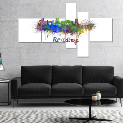 Designart Reading Skyline Multipanel Cityscape Canvas Artwork Print - 5 Panels