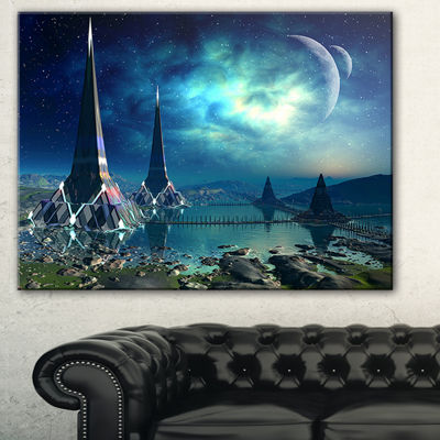 Designart The Towers Of Gremor Alien Planet Abstract Print On Canvas - 3 Panels