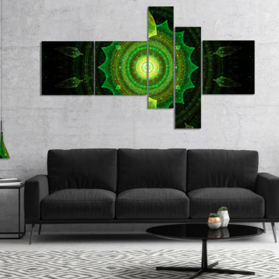 Design Art Cabalistic Green Fractal Sphere Multipanel Abstract Canvas Art Print - 5 Panels