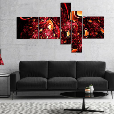Designart Red 3D Surreal Abstract Design Multipanel Abstract Canvas Art Print - 5 Panels