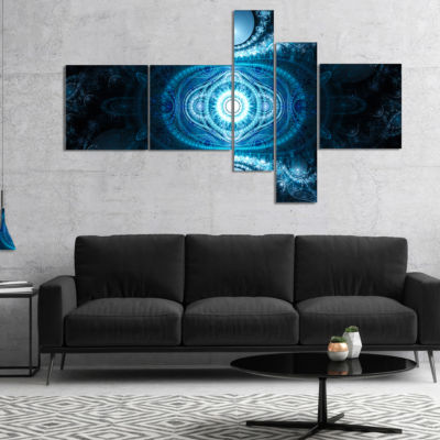 Designart Cabalistic Light Blue Pattern MultipanelAbstract Canvas Art Print - 5 Panels