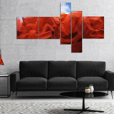 Designart Red And Orange Shade In Antelope CanyonMultipanel Photography Canvas Art Print - 5 Panels