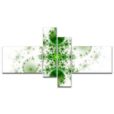 Designart Cabalistic Nature Green Fractal Art Multipanel Abstract Wall Art Canvas - 4 Panels