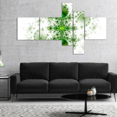 Designart Cabalistic Nature Green Fractal Art Multipanel Abstract Wall Art Canvas - 5 Panels