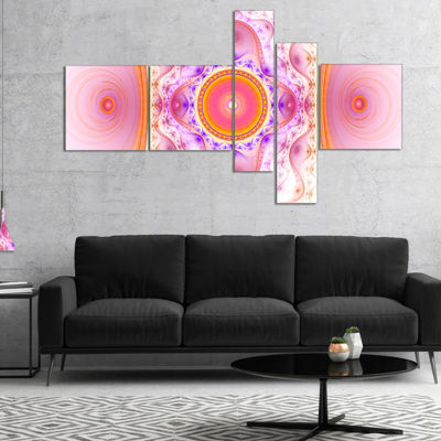Designart Cabalistic Pink Fractal Design Multipanel Abstract Wall Art Canvas - 4 Panels