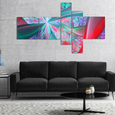 Designart Red Blue Fractal Exotic Plant Stems Multipanel Abstract Canvas Art Print - 4 Panels