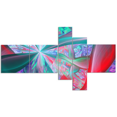 Designart Red Blue Fractal Exotic Plant Stems Multipanel Abstract Canvas Art Print - 5 Panels