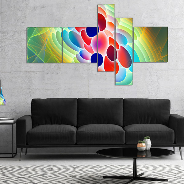 Designart Red Blue Fractal Virus Design MultipanelAbstract Art On Canvas - 4 Panels