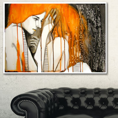 Designart Thoughtful Girl Illustration Portrait Canvas Print