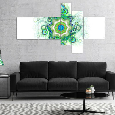 Designart Cabalistic Star Fractal Flower Multipanel Abstract Canvas Art Print - 5 Panels