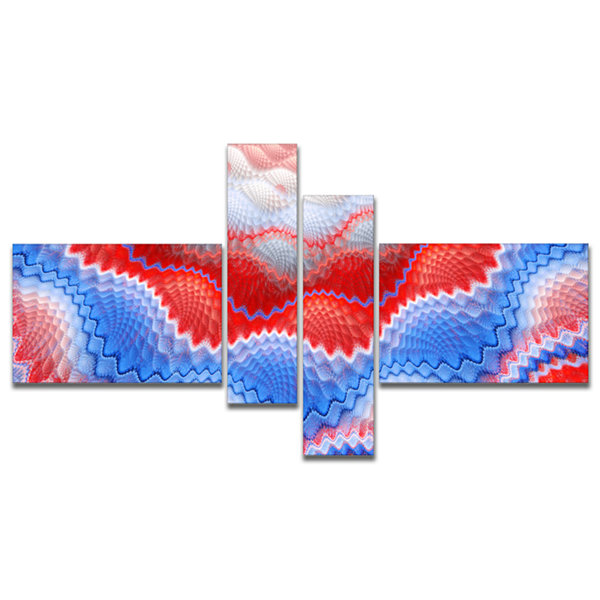 Designart Red Blue Snake Skin Flower Multipanel Abstract Art On Canvas - 4 Panels