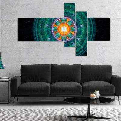 Designart Cabalistic Turquoise Fractal Sphere Multipanel Abstract Canvas Art Print - 5 Panels