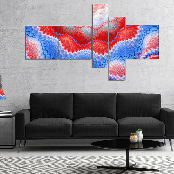 Designart Red Blue Snake Skin Flower Multipanel Abstract Art On Canvas - 5 Panels